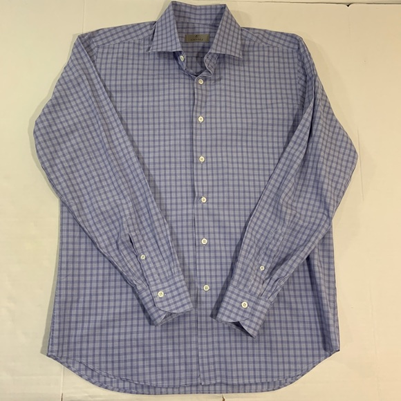 Canali Other - Canali Italy Blue Plaid Dress Shirt 16.5 42